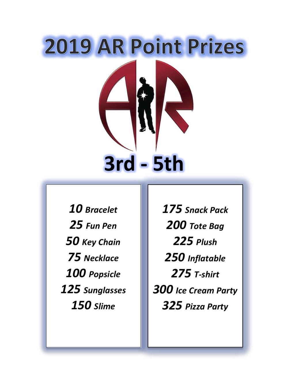 AR Point Prizes 3rd-5th
